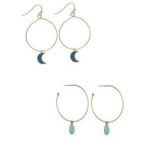 2 pair Loop Earrings with Pendants